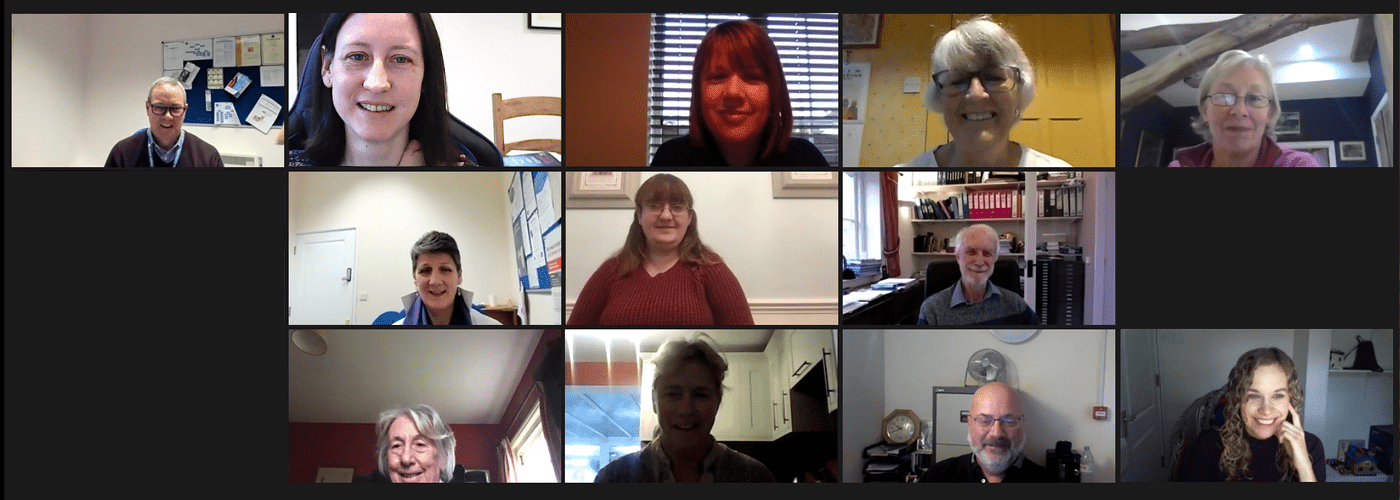 Members of the team at Citizens Advice Mid Suffolk on a video call